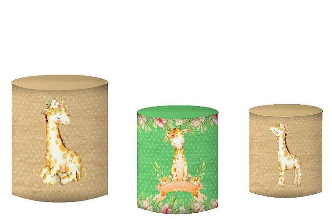 Kit Capas de Cilindro de festa em tecido sublimado Girafinha