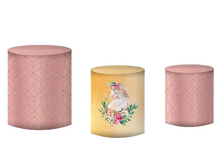 Kit Capas de Cilindro de festa em tecido sublimado Unicórnio Rose Gold