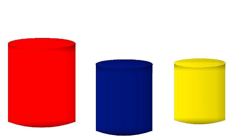 Kit Capas de Cilindro de festa em tecido sublimado Vermelho Azul e Amarelo