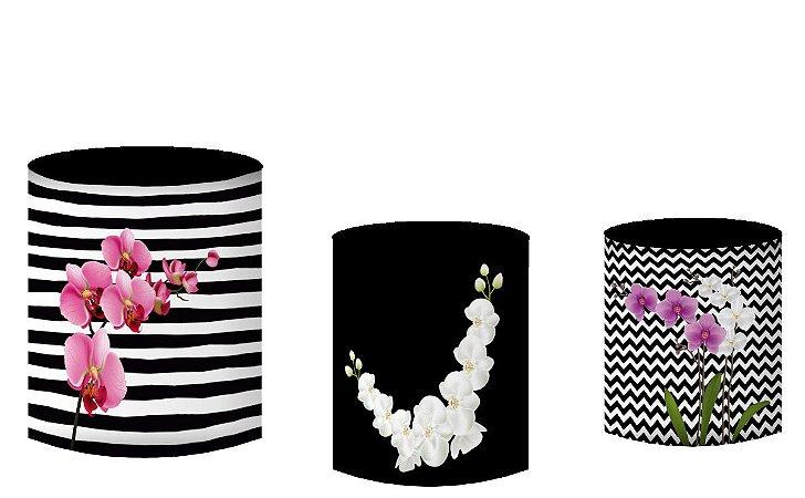 Kit Capas de Cilindro de festa em tecido sublimado Orquídeas
