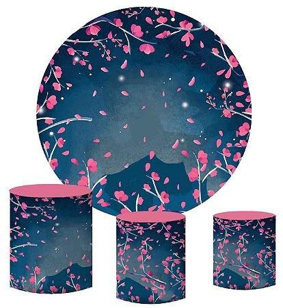 Kit Painel Redondo De Festa e Capas de Cilindro em tecido sublimado Cerejeira Fundo Azul
