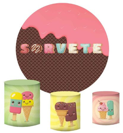 Kit Painel Redondo De Festa e Capas de Cilindro em tecido sublimado Sorvete Candy