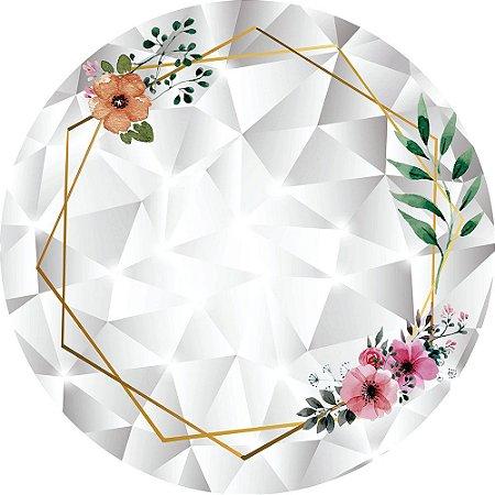 Painel de Festa Redondo em Tecido Sublimado Fundo Geométrico Cristal