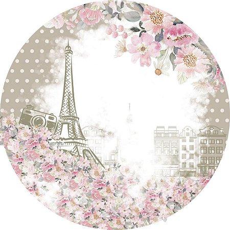 Painel de Festa Redondo em Tecido Sublimado Paris Flores