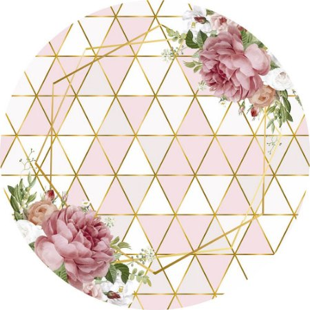 Painel de Festa Redondo em Tecido Sublimado Geométrico Flores