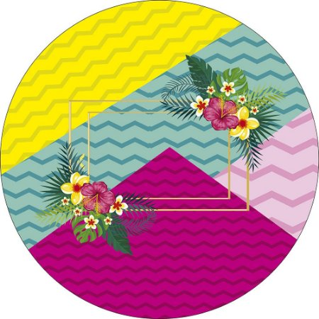 Painel de Festa Redondo em Tecido Sublimado Cores Tropicais