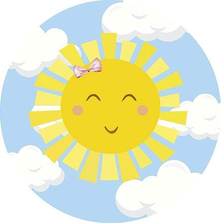 Painel de Festa Redondo em Tecido Sublimado Sunshine Nuvens