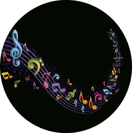 Painel de Festa Redondo em Tecido Sublimado Notas Musicais