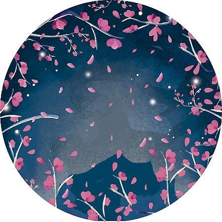 Painel de Festa Redondo em Tecido Sublimado Cerejeira Fundo Azul