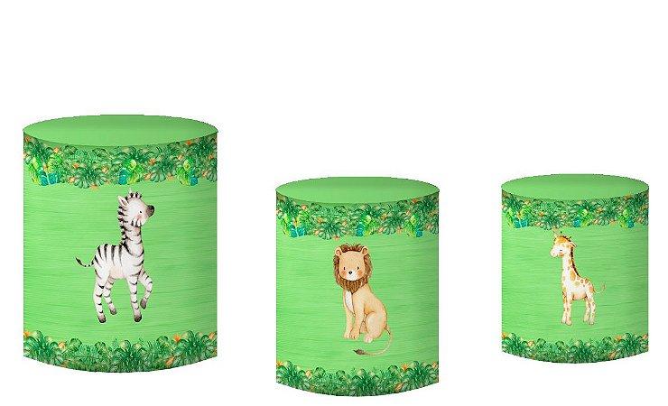 Kit Capas de Cilindro de festa em tecido sublimado Safari Verde