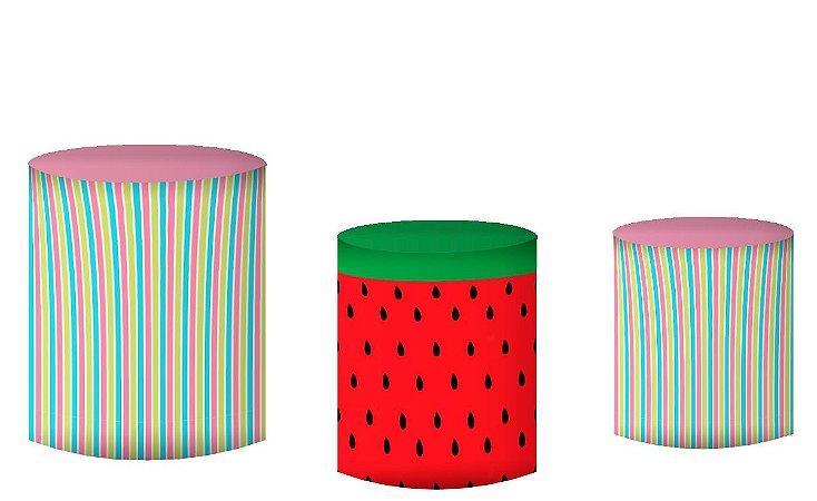 Kit Capas de Cilindro de festa em tecido sublimado Fruta Melancia