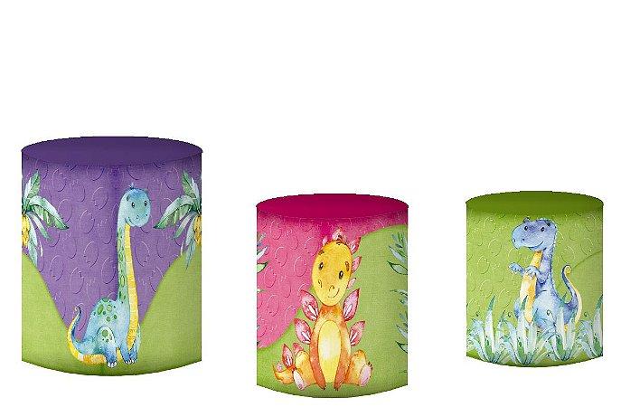 Kit Capas de Cilindro de festa em tecido sublimado Dinossauro Aquarela