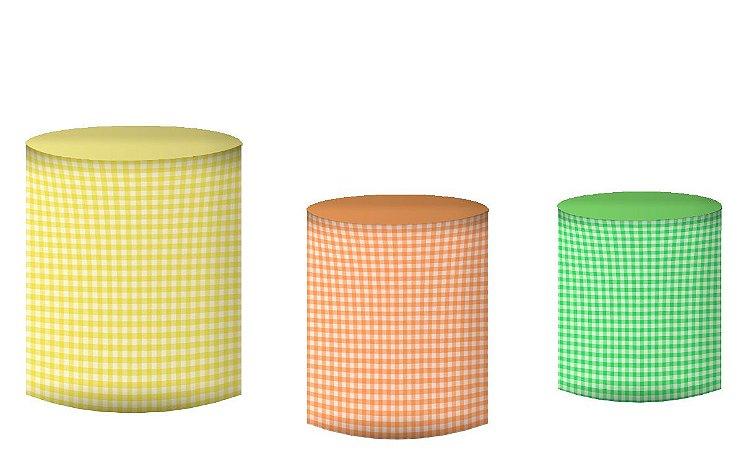 Kit Capas de Cilindro de festa em tecido sublimado Fazendinha Tons Pastéis