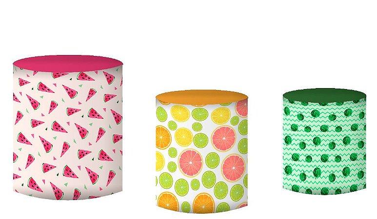 Kit Capas de Cilindro de festa em tecido sublimado Frutas