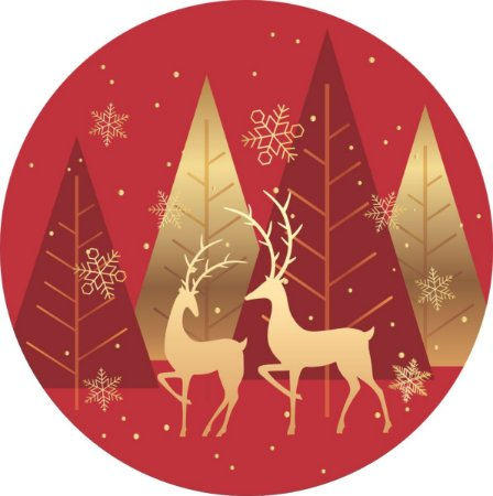 Painel de Festa Redondo em Tecido Sublimado Renas de Natal