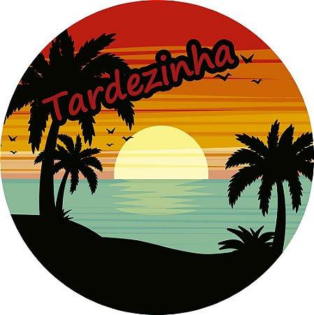 Painel de Festa Redondo em Tecido Sublimado Tardezinha na Praia