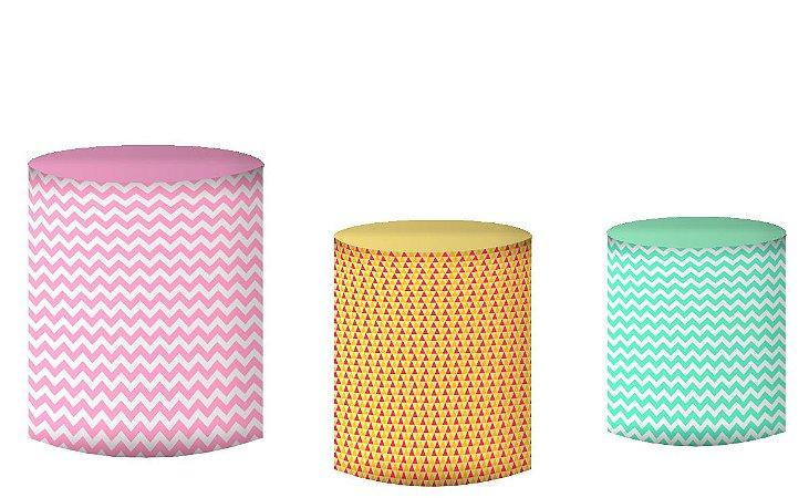 Kit Capas de Cilindro de festa em tecido sublimado Flamingos Candy