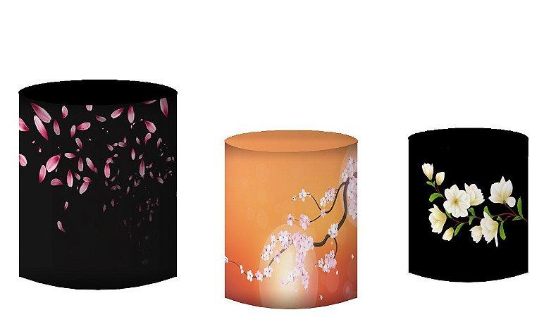 Kit Capas de Cilindro de festa em tecido sublimado Flores