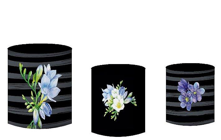 Kit Capas de Cilindro de festa em tecido sublimado Flores Roxas