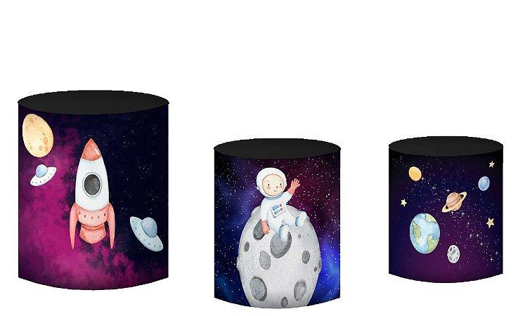 Kit Capas de Cilindro de festa em tecido sublimado Foguete Astronauta