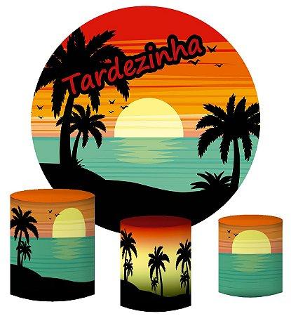 Kit Painel Redondo De Festa e Capas de Cilindro em tecido sublimado Tardezinha na Praia