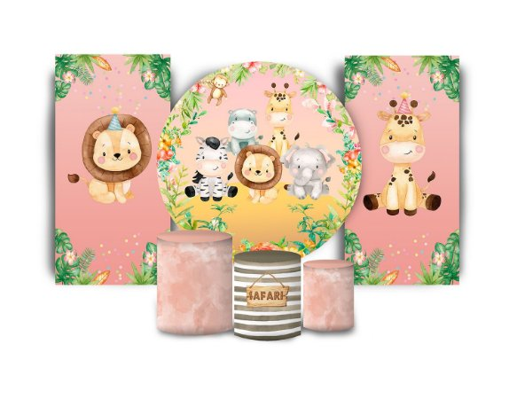 Super Kit Painel De Festa e Capas de Cilindro em tecido sublimado Safari Rosa