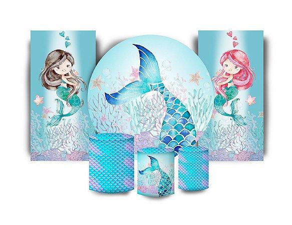 Super Kit Painel De Festa e Capas de Cilindro em tecido sublimado Sereias