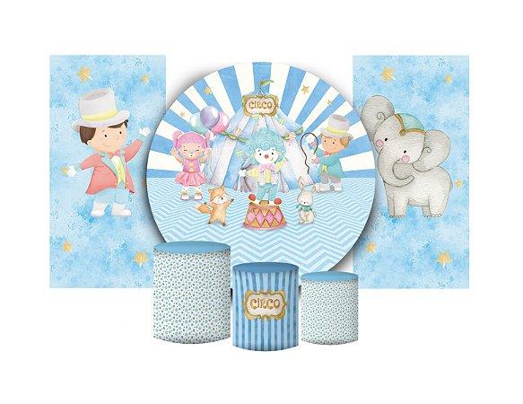 Super Kit Painel De Festa e Capas de Cilindro em tecido sublimado Circo Azul dos Meninos