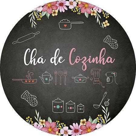 Painel de Festa Redondo em Tecido Sublimado Chá de Cozinha