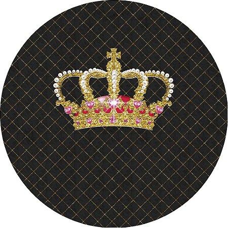 Painel de Festa Redondo em Tecido Sublimado Coroa Realeza Luxo
