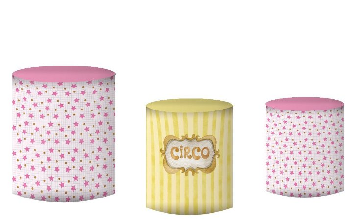 Kit Capas de Cilindro de festa em tecido sublimado Trupe Circo Rosa