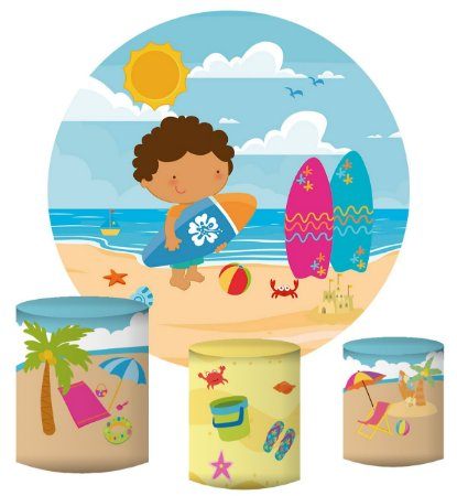 Kit Painel Redondo De Festa e Capas de Cilindro em tecido sublimado Menino na Praia