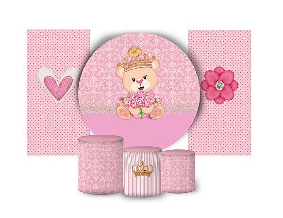 Super Kit Painel De Festa e Capas de Cilindro em tecido sublimado Ursinha Princesa
