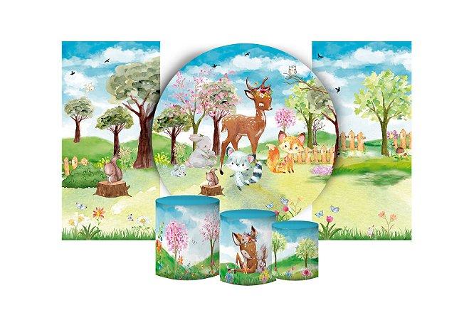 Super Kit Painel De Festa e Capas de Cilindro em tecido sublimado Bosque Florido Aquarela