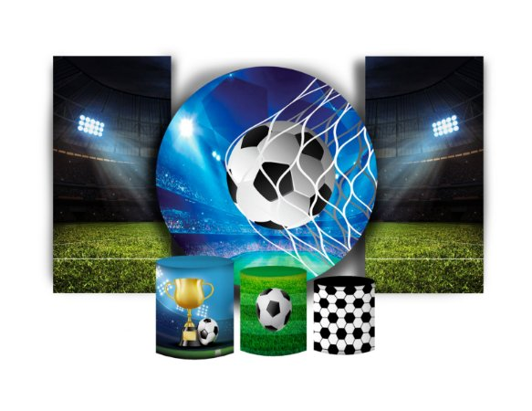 Super Kit Painel De Festa e Capas de Cilindro em tecido sublimado Futebol