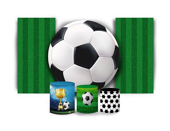 Super Kit Painel De Festa e Capas de Cilindro em tecido sublimado Bola Futebol