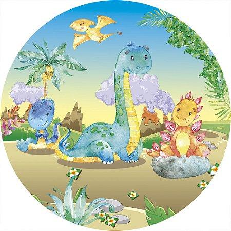 Painel de Festa Redondo em Tecido Sublimado Dinossauros Vulcões