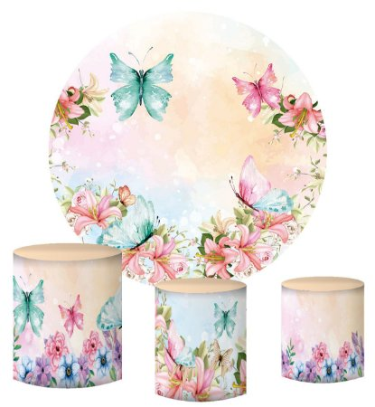 Kit Painel Redondo De Festa e Capas de Cilindro em tecido sublimado Flores e Borboletas