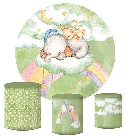 Kit Painel Redondo De Festa e Capas de Cilindro em tecido sublimado Elefantinho Verde Candy