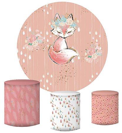 Kit Painel Redondo De Festa e Capas de Cilindro em tecido sublimado Raposinha Glitter