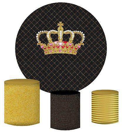 Kit Painel Redondo De Festa e Capas de Cilindro em tecido sublimado Realeza Luxo