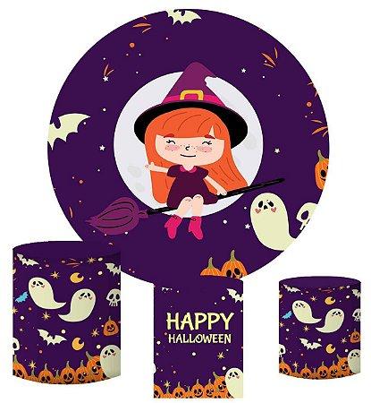 Kit Painel Redondo De Festa e Capas de Cilindro em tecido sublimado Bruxinha Halloween