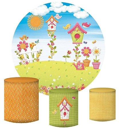 Kit Painel Redondo De Festa e Capas de Cilindro em tecido sublimado Passarinhos Casinha