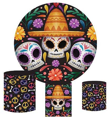Kit Painel Redondo De Festa e Capas de Cilindro em tecido sublimado Dia de Los Muertos