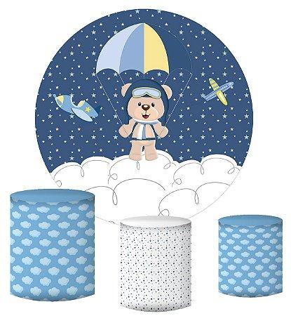 Kit Painel Redondo De Festa e Capas de Cilindro em tecido sublimado Ursinho Aviador Estrelas