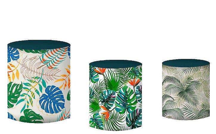 Kit Capas de Cilindro de festa em tecido sublimado Folhagens do Safari