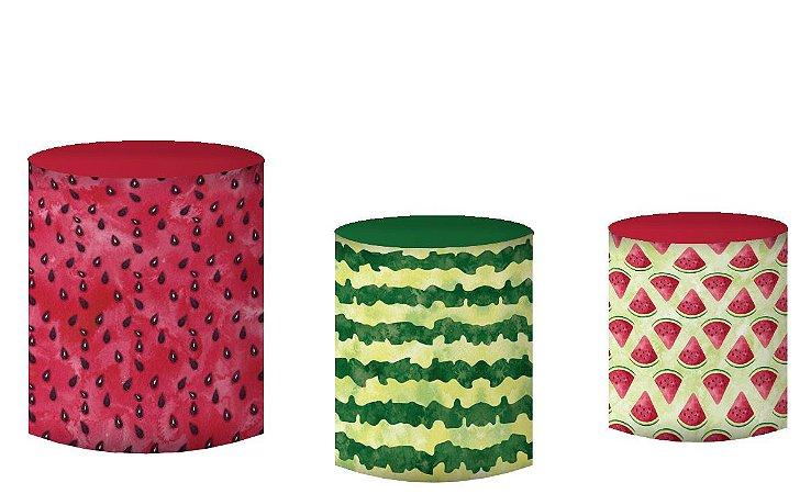Kit Capas de Cilindro de festa em tecido sublimado Melancia Aquarela