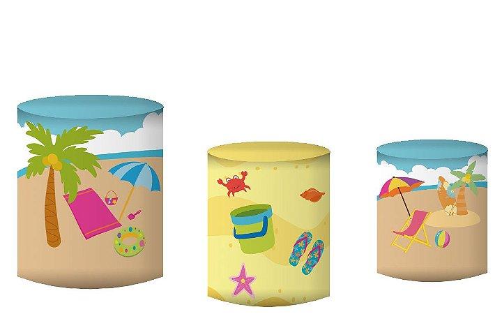 Kit Capas de Cilindro de festa em tecido sublimado Menino Praia