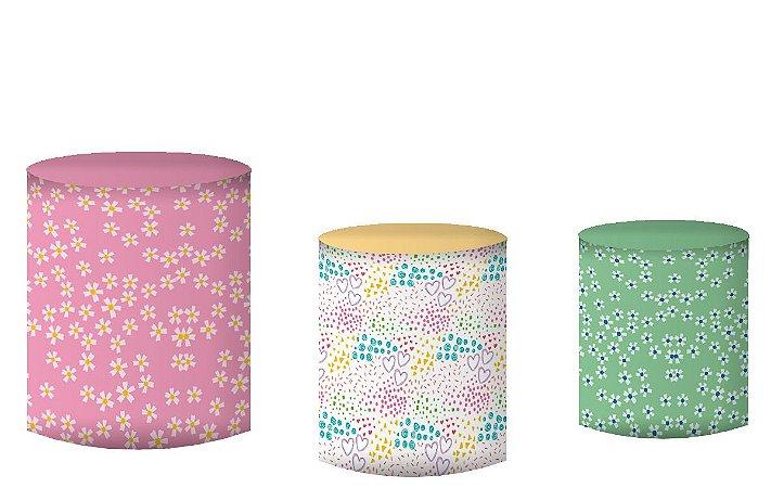 Kit Capas de Cilindro de festa em tecido sublimado Lhamas Flores