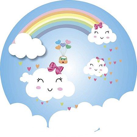 Painel de Festa Redondo em Tecido Sublimado Nuvem Love
